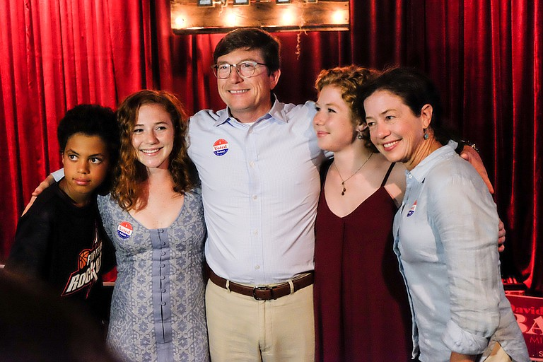 David Baria (middle) celebrated his Democratic primary victory with his faimly, including (left to right) his son Max, daughters Merritt and Bess, and wife Marcie.
