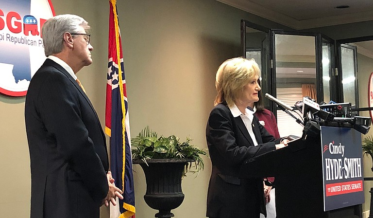 """Gov. Phil Bryant led a press conference about Sen. Cindy Hyde-Smith's anti-abortion position today by railing against the supposed """"black genocide"""" by African American women choosing to have the procedure. Photo by Amber Helsel"""