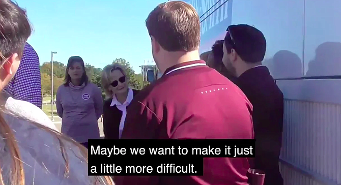 """In a video that surfaced Nov. 15, 2018, U.S. Sen. Cindy Hyde-Smith suggests making it """"more difficult"""" for people in certain schools to vote. Courtesy Bayou Brief"""