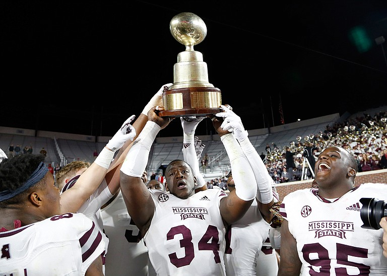 Mississippi State University topped Ole Miss 35-3 during the Egg Bowl on Thanksgiving Day. Photo by AP Photo/Rogelio V. Solis