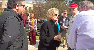 "U.S. Sen. Cindy Hyde-Smith, a Republican speaks with supporters at a campaign stop in Tupelo on Nov. 2, 2018, where she made her now-infamous ""public hanging"" remark. Courtesy The Bayou Brief"