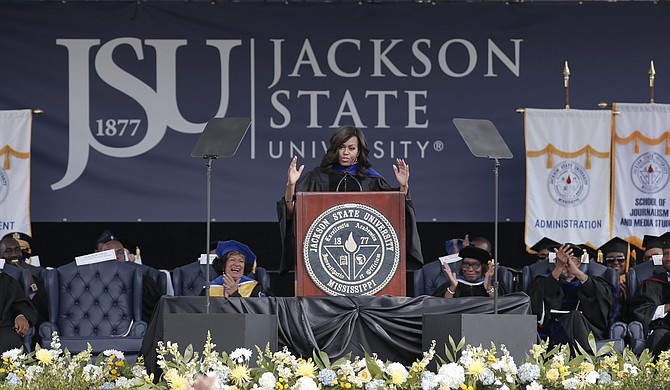 Stakeholders of Jackson Public School District's Early College High School Program at Tougaloo College voted to name the program after former first lady Michelle Obama. She is pictured here giving the commencement speech at Jackson State University in 2016.