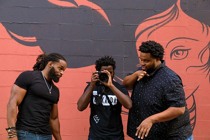 For Curtis McAfee, Terrance Wells and Melvin Robinson (left to right), their media company's name, 242 Creative, references the importance of their Jackson roots. Photo Brandon Smith