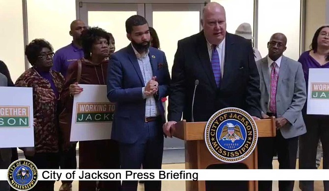 At a Dec. 13, 2018, press conference, Public Works Director Bob Miller and Mayor Chokwe Antar Lumumba announced the first satellite customer-service stations to help Jackson residents with water bills. Photo courtesy City of Jackson