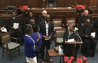 Former Hinds County District Attorney Faye Peterson was one of the judges sworn into the Hinds County Circuit Court bench on Dec. 27, 2018. photo by Ko Bragg