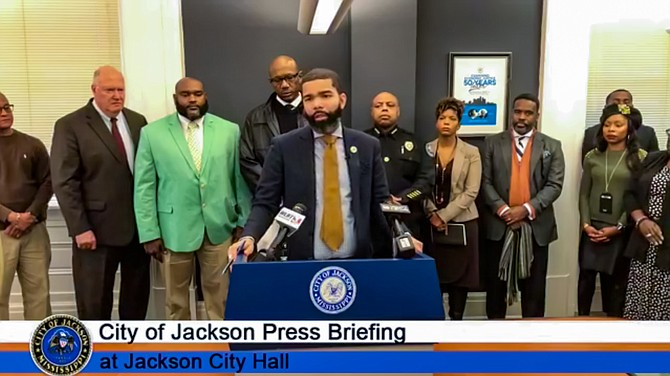 "Mayor Chokwe A. Lumumba navigated between his ""radical"" criminal-justice reform stances and his decisions to increase policing surveillance in his press conference Monday, Jan. 14. Photo: City of Jackson"