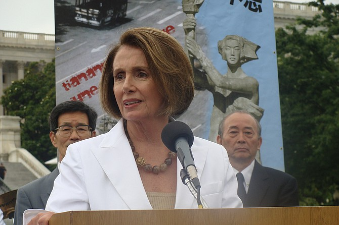 """There are discussions on the Senate side,"" House Speaker Nancy Pelosi told reporters Friday morning as she entered the Capitol. ""We are in touch with them."" Asked about Trump's demands for border security measures as part of a bill temporarily reopening government, Pelosi said, ""One step at a time."" Photo courtesy Flickr/Nancy Pelosi"