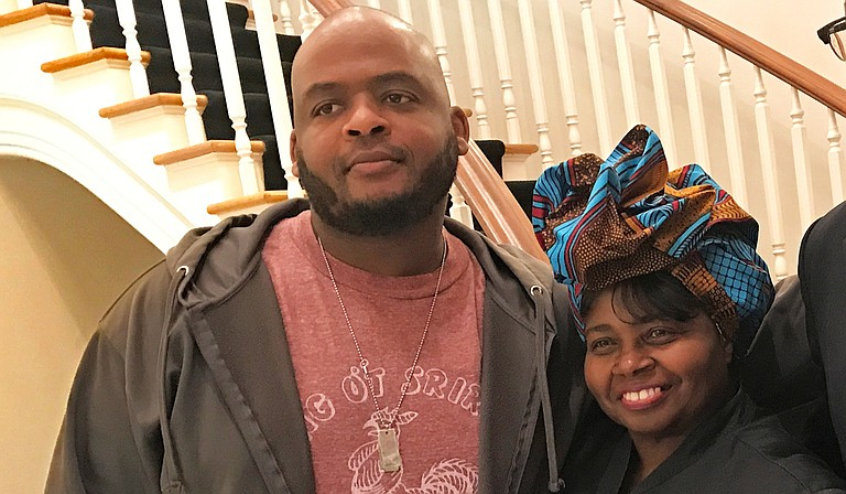 """Author Kiese Laymon (left), whose memoir """"Heavy"""" was one of last year's most acclaimed works, has won the Andrew Carnegie Medal for Excellence. He is pictured here with his aunt, Carolyn Coleman (right)."""