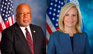 Homeland Security Committee Chairman Rep. Bennie Thompson (left), D-Mississippi, again requested Homeland Security Secretary Kristjen Nielsen's (right) appearance before his committee. Official Photos