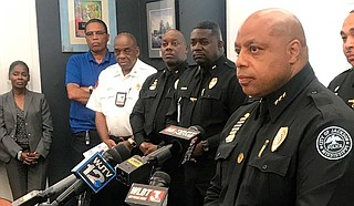 Two of 12 Jackson police officers involved in nine officer-involved shootings since November 2017 shot more than one person. A month into his current job, JPD Chief James Davis (above right) suspended Rakasha Adams for three months due to her pursuit and the subsequent death of Crystalline Barnes in January 2018. File photo by Ko Bragg