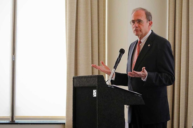 Mississippi Secretary of State Delbert Hosemann, a Republican candidate for lieutenant governor, discussed his ideas on healthcare, teacher pay, building an educated workforce, and more in Jackson on Feb. 25, 2018. Photo by Taylor Langele