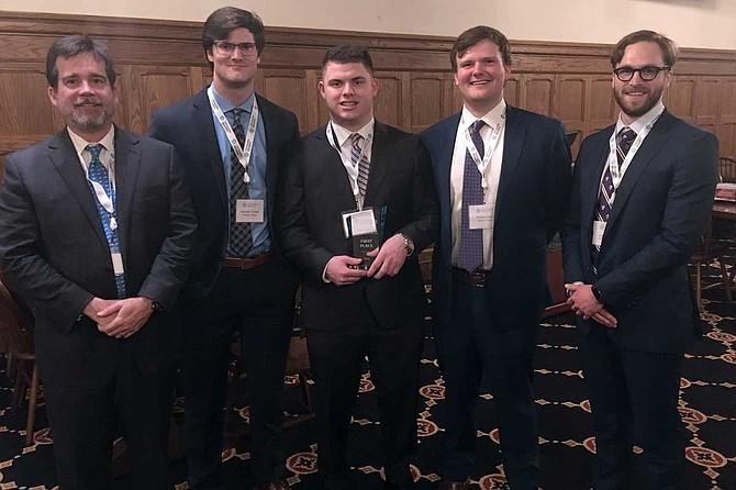 (Pictured left to right) Julius Ridgway, Michael Tadda, Garrett Brinneman, Joseph Rein and Joseph Martin Photo courtesy Millsaps College