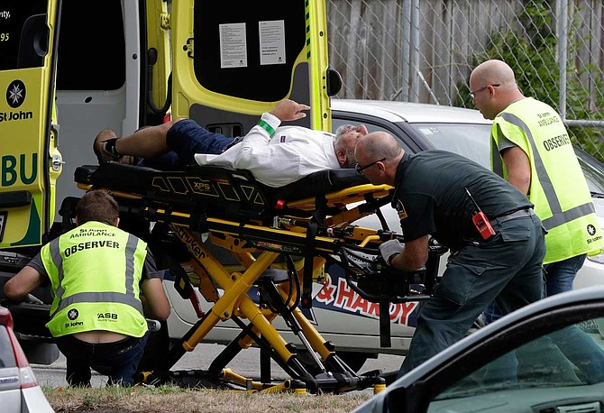 "New Zealand police said at least 49 people were killed Friday at two mosques in the picturesque South Island city of Christchurch. More than 20 were seriously wounded in what Prime Minister Jacinda Ardern called a ""terrorist attack."" Photo courtesy AP/Mark Baker"