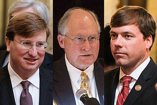 The Mississippi State University College Republicans will host the party's first 2019 gubernatorial debate on April 2. The candidates include former Mississippi Supreme Court Justice William Waller Jr. (center) and State Rep. Robert Foster of Hernando (right). Lt. Gov. Tate Reeves (left), the frontrunner, rejected an invite.