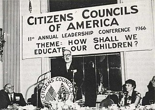 Citizens' Council founder Robert Patterson speaks at the 1966 Citizens Council leadership conference. Source: March 1966 issue of 'The Citizen.' Photo courtesy University of Mississippi Digital Archives