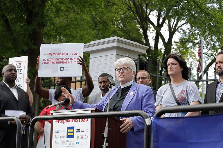 """Susan Hrostowski, an episcopal priest who took part in a 2015 lawsuit that successfully ended Mississippi's ban on adoptions for same-sex couples, said Rep. Mark Baker's views on same-sex adoption """"are not shared by other Christians who follow the teachings and ministry of Jesus."""""""