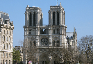 The blaze collapsed the cathedral's spire and spread to one of its landmark rectangular towers. A spokesman said the entire wooden frame of the cathedral would likely come down, and that the vault of the edifice could be threatened too. Photo courtesy Tom S./The English Wikipedia