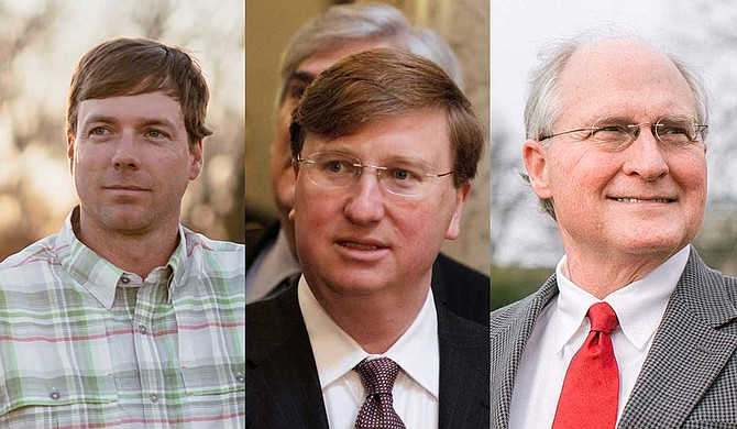 Spokesmen for state Rep. Robert Foster (left), Lt. Gov. Tate Reeves (center) and former Mississippi Supreme Court Chief Justice Bill Waller Jr. (right) all confirmed that the candidates will participate. Photos courtesy Robert Foster Campaign/Jamie Johnston/AP courtesy Waller