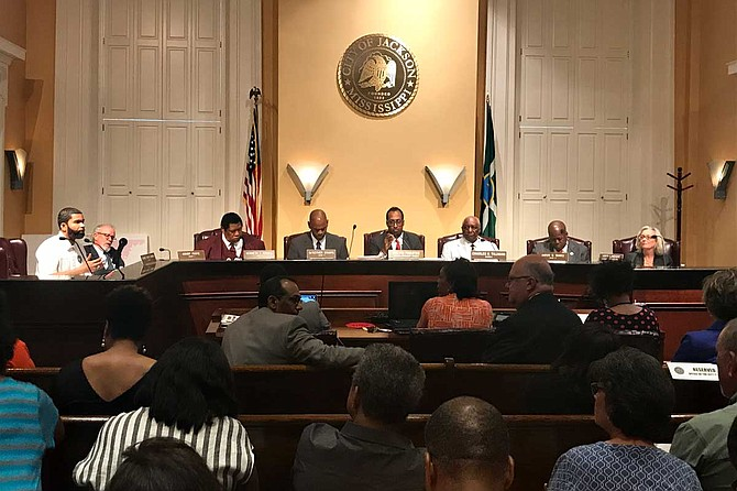 City council members discussed the events surrounding Officer James Hollins with the Jackson Police Department at its meeting on May 28.