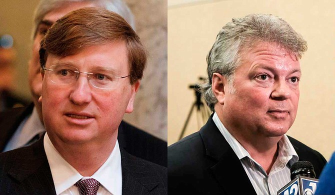Republican Tate Reeves (left) leads the money race for governor with $6.3 million in cash on hand, while Democratic candidate Jim Hood (right) has $1.2 million.