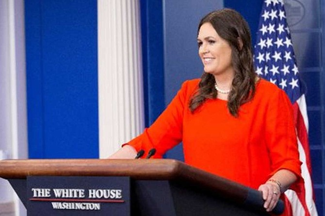 Under Sanders' tenure, regular White House press briefings became a relic of the past. She has not held a formal briefing since March 11. Reporters often catch her on the White House driveway after she is interviewed by Fox News Channel or other TV news outlets. Photo courtesy Twitter/PressSec