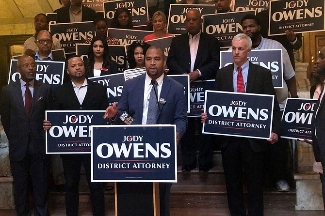 Jody Owens discusses his campaign for district attorney at a press conference on June 24 inside the Mississippi Capitol building.
