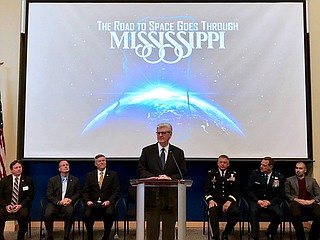 Republican Gov. Phil Bryant announced the Space Initiative on Monday during an event at Stennis Space Center in coastal Hancock County, where NASA rocket engines are tested. Bryant also announced the formation of a Mississippi National Guard Space Directorate. Photo courtesy Twitter/Phil Bryant