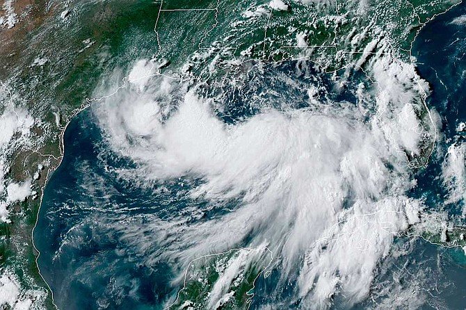 As of late Thursday afternoon, Barry was about 90 miles south of the mouth of the Mississippi, with winds around 40 mph (65 kph). A hurricane warning was posted for a 100-mile stretch of Louisiana coastline just below Baton Rouge and New Orleans. Photo courtesy National Hurricane Center