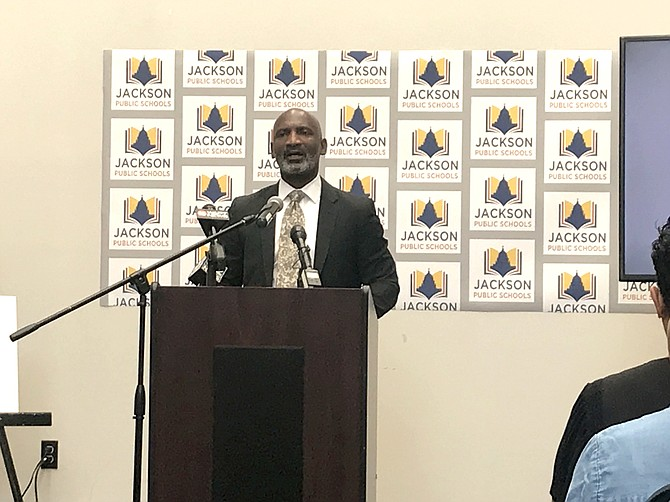 Jackson Public SchoolsSuperintendent Errick L. Greene speaks to an audience about JPS' strategic plan for the next five years at a press conference on July 19.