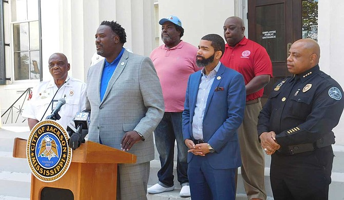 Parks and Recreation Director Ison B. Harris Jr. talks about the Peace in the Street 3- on-3 basketball tournament on Aug. 17 at a July 23 press conference outside Jackson City Hall. Photo by Josh Wright