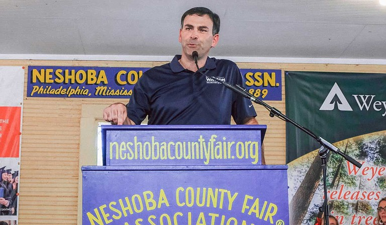 Republican Sen. Michael Watson, who is running in a heated contest against fellow conservative Sam Britton in their party's primary, shared his proposal with a crowd at the Neshoba County Fair on July 31. Photo by Ashton Pittman