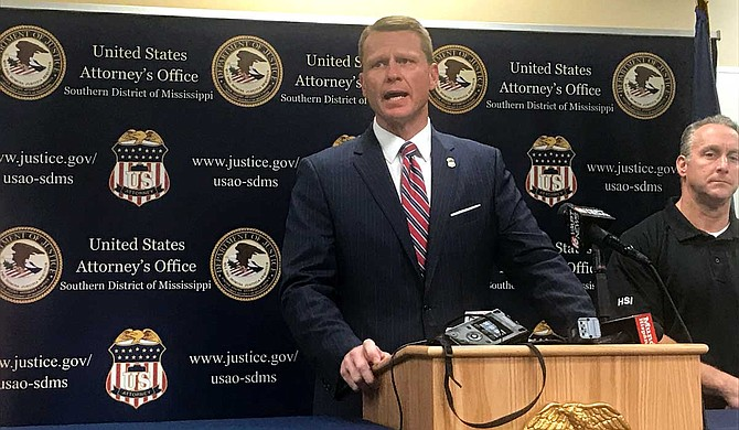 Mike Hurst, United States Attorney for the United States District Court for the Southern District of Mississippi, discussed Homeland Security Investigations and ICE operations at an Aug. 7 press conference inside the Homeland Security Investigations building. Photo by Aliyah Veal