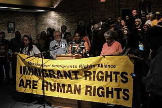 """Patricia Ice, director of the Mississippi Immigrant Rights Alliance Legal Project, addressed Aug. 7 ICE raids at a press conference in Jackson. """"We're not going to stop protesting. We're not going to stop decrying all this until it is ended,"""" she said. Photo by Ashton Pittman"""