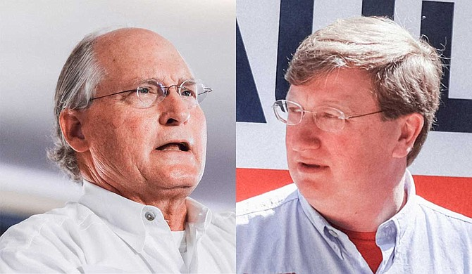 A mailer from Tate Reeves' (right) campaign made several misleading claims about Republican runoff opponent Bill Waller's (left) Medicaid expansion plan. Photo by Ashton Pittman