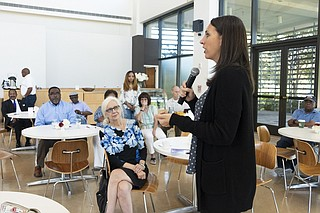 Lindsey Simmons, executive director of Mississippians Against Human Trafficking, delivers a presentation on trafficking during a community forum at the Mississippi Museum of Art in Jackson, Miss., on Aug. 30, 2019. Photo by Seyma Bayram
