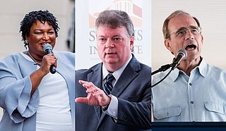 In Mississippi, Stacey Abrams (left) is working to help Democrats in statewide races like nominee for governor Jim Hood (center). Secretary of State Delbert Hosemann, the Republican nominee for lieutenant governor (right), will debate Democratic nominee Jay Hughes Thursday, Sept. 12. Photos by Ashton Pittman
