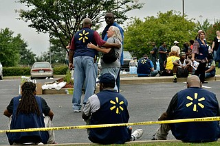 Abram's next hearing is set for Sept. 13. He's charged with murder in the shooting of 40-year-old Anthony Brown and 38-year-old Brandon Gales on July 30. Authorities have said Abram was suspended from his job at the Walmart the day before the shootings. Photo by Brandon Dill via AP
