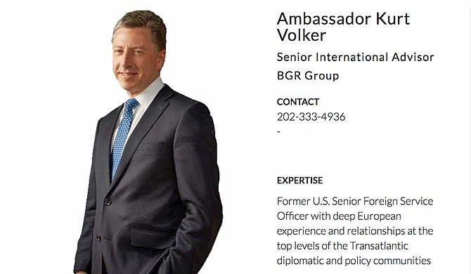 Texts show that former Ambassador to NATO Kurt Volker served as an envoy between Donald Trump and Ukraine President Volodymyr Zelensky, but stepped down last week, as well as from his role with the McCain Institute. He is also a paid consultant with BGR Group, a lobbying firm Mississippi native Haley Barbour co-founded, which lobbies on behalf of Ukraine. Photo courtesy BGR Group Website