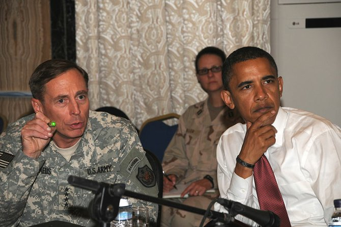 Then-Sen. Barack Obama with soldiers during his 2008 campaign. (File photo)