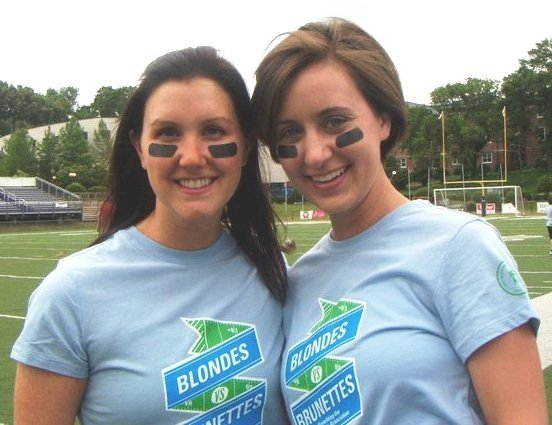 Holly Smith (right) is playing in the Blondes vs Brunettes flag football game this Saturday, which benefits the Mississippi chapter of the Alzheimer's Association.