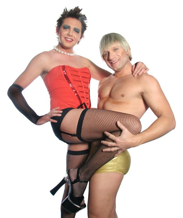 """Chad King (left) and Keith Hodges (right) star as Frank-n-Furter and Rocky in """"Rocky Horror Show."""""""