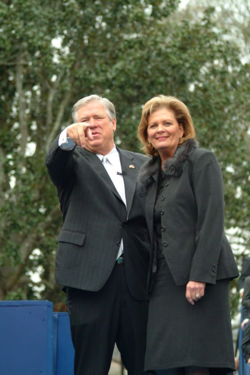 Mississippi Gov. Haley Barbour and his wife, Marsha, at his January 2004 inauguration.