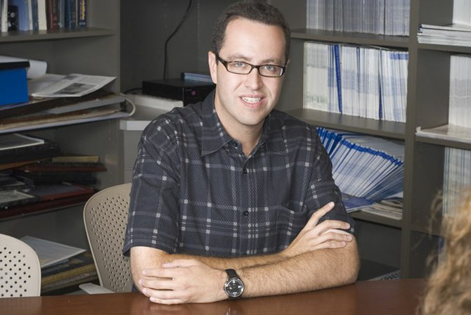 "Subway spokesman Jared Fogle stopped at St. Dominic's Health Line Wellness Center last month as part of his ""Tour De Pants."""