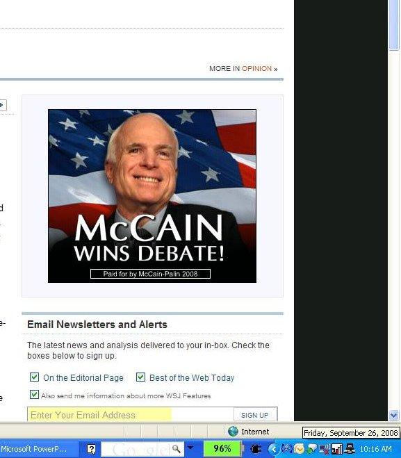 A Wall Street Journal web ad announcing McCain's debate victory long before the debate happens.
