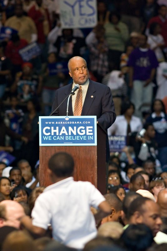 Democratic incumbent U.S. Rep. Bennie Thompson introduced presidential nominee Sen. Barack Obama at a Jackson rally in March 2008.