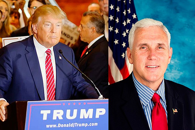 Donald Trump (left) and Mike Pence (right) are targeting the rights of women in the 2016 election. They vow to stack the courts with anti-abortion justices who could make Personhood a reality—endangering in vitro fertilization, the birth-control bill and any abortion to save the life of the mother. File photos