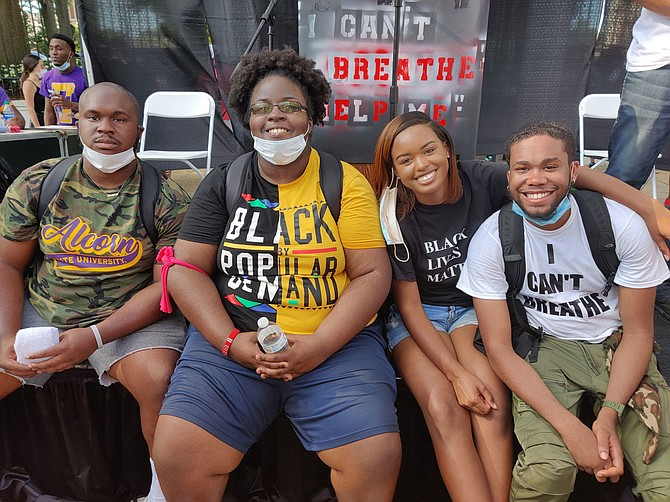 Four of the Jackson Black Lives Matter protest's primary organizers—from left: Calvert White, Taylor Turnage, Maisie Brown and Timothy Young—speaking to media after the event's end on June 6, 2020. Photo by Nick Judin