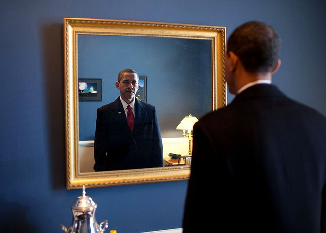 President-elect Barack Obama, moments before being sworn in as President of the United States. January 20, 2009. Official White House Photograph by Pete Souza.