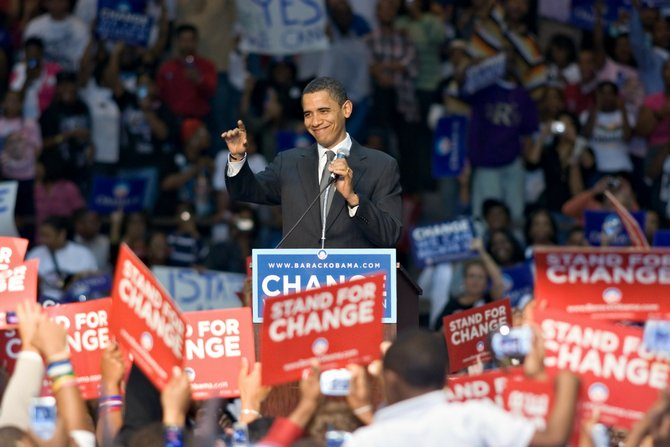 President Barack Obama campaigned at Jackson State University in 2008.
