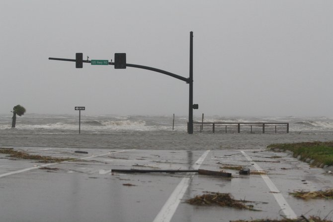 Hurricane Isaac hits Gulfport, MS. August 28, 2012.